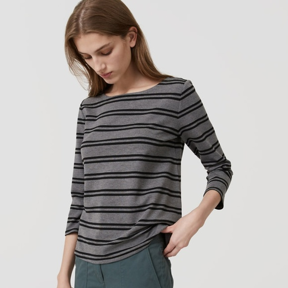 c82a00c4 LOFT Tops | Nwt Striped 34 Sleeve Top Grey M | Poshmark